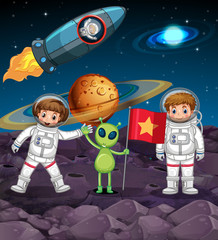 Space theme with two astronauts and alien with flag