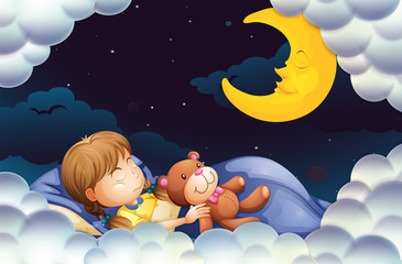 Little girl sleeping with teddybear at night time