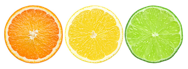 citrus slice, orange, lemon, lime, isolated on white background, clipping path