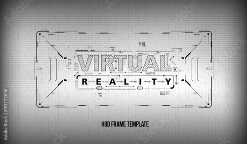 Virtual reality. Conceptual Layout for print and web. Lettering with ...