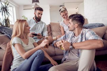 Friends having fun ,playing video games