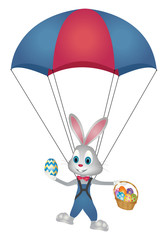 Easter bunny flying with parachute and basket of easter eggs vector