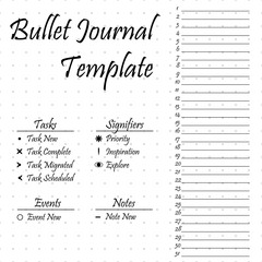 Bullet journal template. Simple papers task tracker
