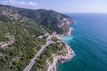 Road along the shores of Garraf. Aerial view
