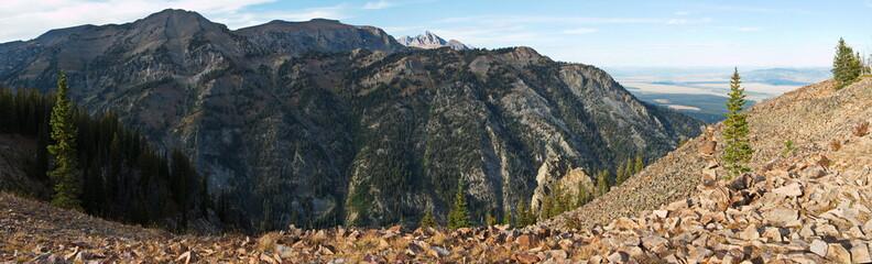 Panoramic view from Casper Ridge Loop in Grand Teton NP in Wyoming in the USA