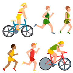 Racing vector bike people cyclist in action fast road biker man flat side front view illustration of cycling. Athlete sport competition motion summer running rider character. Fitness pedal transport