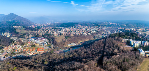 Panoramic aerial view of Varese, Italy