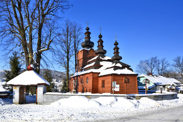 Orthodox wooden church in winter time, Wysowa Zdroj, Beskid Niski, Poland