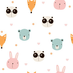 Seamless pattern with cute animals. Vector hand drawn illustration.