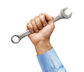 Man's hand in a shirt holds a wrench isolated on white background. Close up. High resolution product