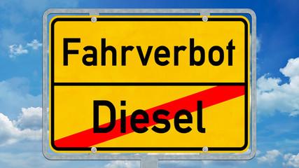 osg45 OrtsSchildGrafik osg - Dieselfahrverbot / Ortsschild mit der Aufschrift: Fahrverbot versus Diesel - 16zu9 g5881