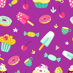 seamless background of swirls and donuts