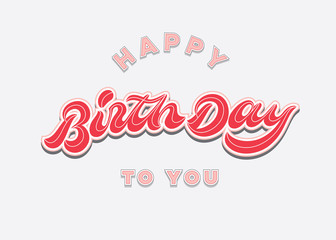 happy birthday to you vintage hand lettering typography card