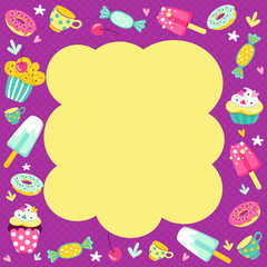 frame from sweets for registration of invitations and children's holidays