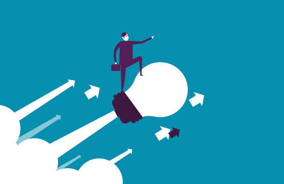 Businessman flying up with bulb. Vector illustration business ideas concept.