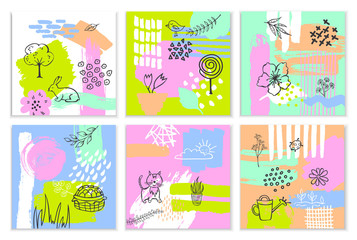 abstract spring easter paint brush stroke textured and outlined collagequirky cards set