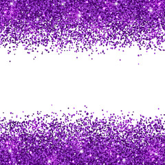 Purple glitter placer on white background. Vector