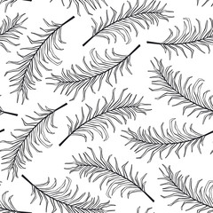 hand drawn outlined palm leaves black and white seamless pattern