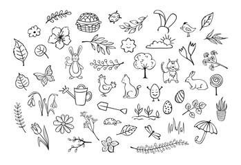 springtime easter outlined hand drawn simpe childlike doodles set