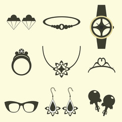 Vector set of jewelry icons. Earrings, clock hands, ring, bracelet, necklace, diadem, sunglasses