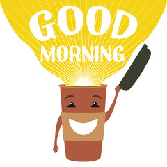 Vector graphic illustration with cute cup of coffee to go with smiley face. Good morning
