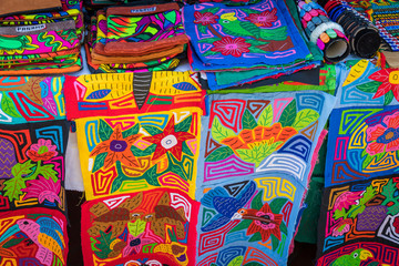 Street stall with hand-made souvenirs from Panama city