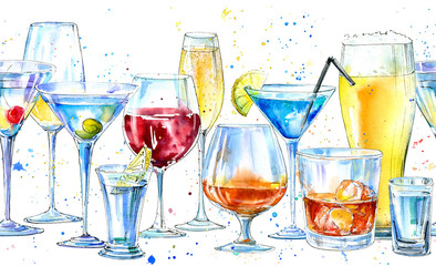 Seamless border of a shampagne,martini,whiskey,vodka, wine,liquor, beer, cognac and cocktail. Picture of a alcoholic drink.Beverage border.Watercolor hand drawn illustration.