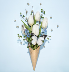 Spring flowers in waffle cone