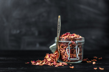 rose-petals dried - in a can for storage
