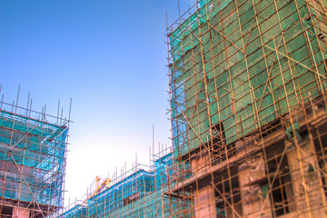 The tall building under construction