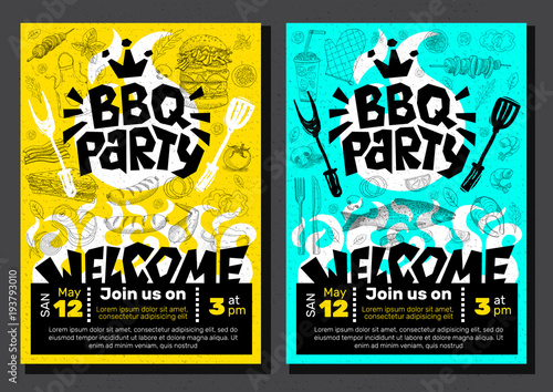bbq party food poster barbecue template menu invitation flyer