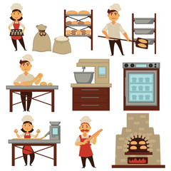 Baker in bakery shop baking bread process vector isolated profession people icons