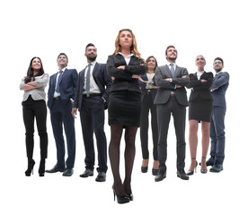 happy successful business team isolated on white background