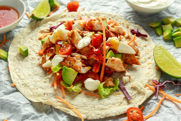 Chicken Tortilla wraps with fresh vegetable mix, avocado, lime, greek yogurt and sweet chilli sauce