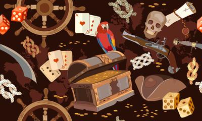 Pirate vintage seamless pattern Adventure stories. Treasure chest parrot steering wheel skull rum saber pirate hat, pirate seamless background