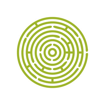 Vector green Round maze or circular hedge garden labyrinth. Maze puzzle symbol is great as metaphor for problem solution.