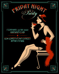 Flapper girl with wineglass. Retro party invitation card. Handmade drawing vector illustration. Art deco style.