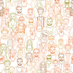 hand drawn crowd seamless vector pattern