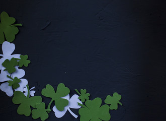 Green clover leaf on wooden background. St Patrick's Day conception