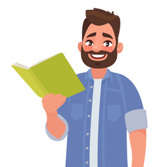 Man is holding a book in his hand. Vector illustration