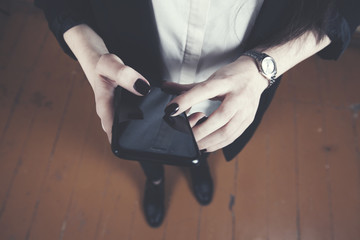 young business woman hand smart phone
