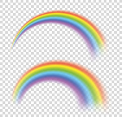 Rainbows in different shape realistic set. Perfect set isolated on transparent background - stock vector.