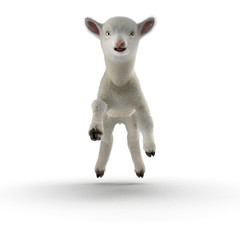 Lamb jumping, isolated on a white. 3D illustration