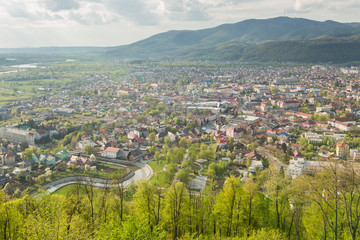 View to the city of Khust from castle, Ukraine