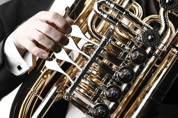 Poster Muziek Tuba brass instrument. Musical wind instrument closeup