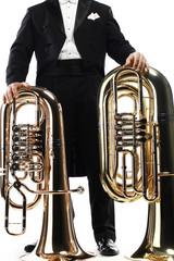 Poster Muziek Tuba brass instrument. Wind horn music instrument