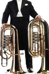 Tuba brass instrument. Wind horn music instrument