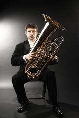 Poster Muziek Tuba player brass instrument. Classical musician portrait