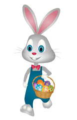 Easter bunny walking with basket of easter eggs vector