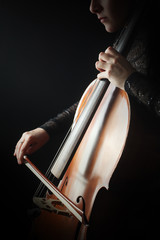 Poster Muziek Cello player. Cellist hands playing violoncello with bow